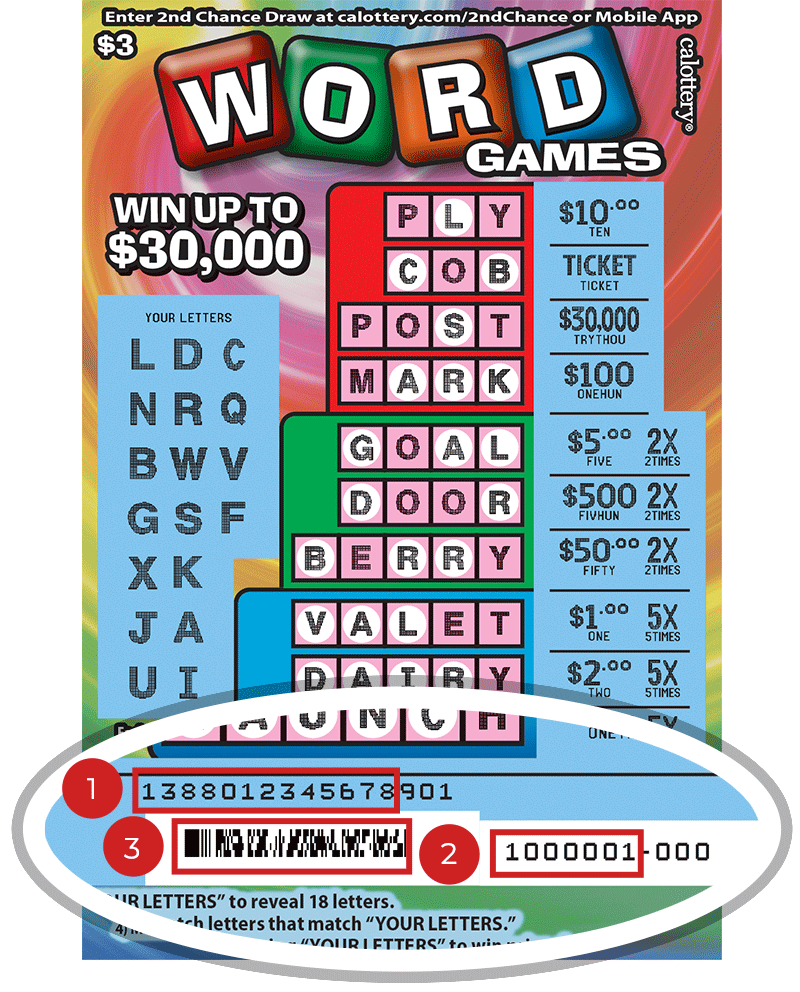 Image of a Scratched $3 WORD GAMES Scratcher showing a circle in the lower part of the ticket which highlights the placement of the three items listed in the legend below. #1 is the Entry Code (use the first 13 digits only). #2 is the Ticket ID (use the first 7 digits only). #3 is the barcode which can be scanned to use Check-a-Ticket or enter 2nd Chance.