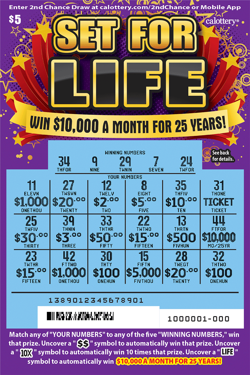 $5 Set for Life scratched ticket