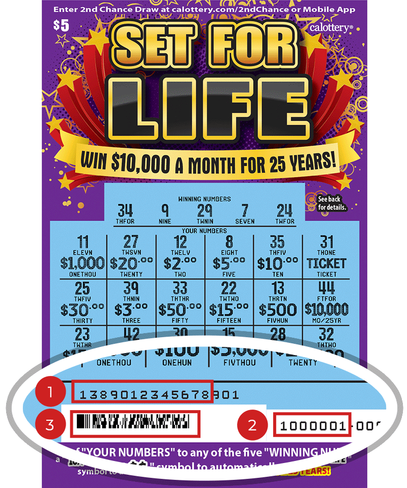 Image of a Scratched $5 SET FOR LIFE Scratcher showing a circle in the lower part of the ticket which highlights the placement of the three items listed in the legend above. #1 is the Entry Code (use the first 13 digits only). #2 is the Ticket ID (use the first 7 digits only). #3 is the barcode which can be scanned to use Check-a-Ticket or enter 2nd Chance.
