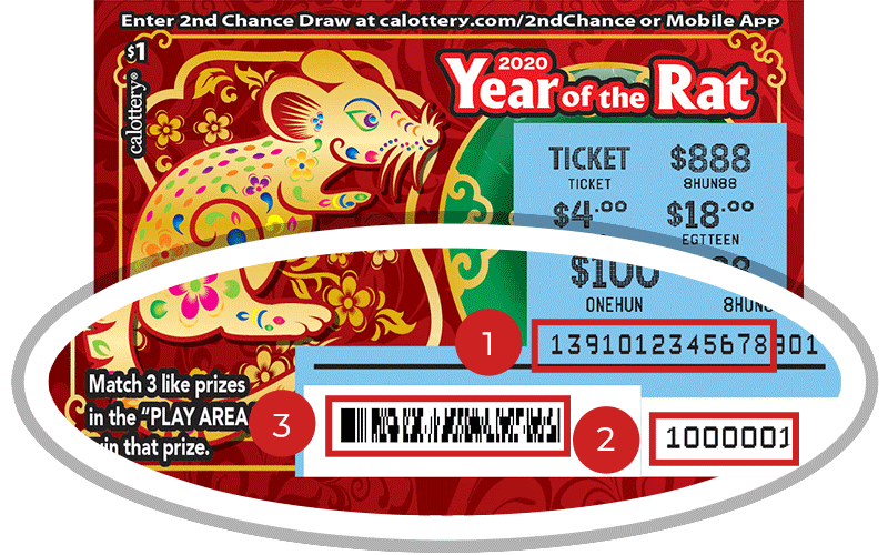 Image of a Scratched $1 YEAR OF THE RAT Scratcher showing a circle in the lower part of the ticket which highlights the placement of the three items listed in the legend below. #1 is the Entry Code (use the first 13 digits only). #2 is the Ticket ID (use the first 7 digits only). #3 is the barcode which can be scanned to use Check-a-Ticket or enter 2nd Chance.