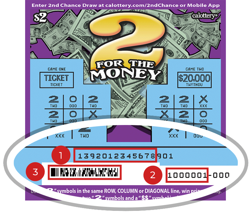 Image of a Scratched $2 2 FOR THE MONEY Scratcher showing a circle in the lower part of the ticket which highlights the placement of the three items listed in the legend below. #1 is the Entry Code (use the first 13 digits only). #2 is the Ticket ID (use the first 7 digits only). #3 is the barcode which can be scanned to use Check-a-Ticket or enter 2nd Chance.