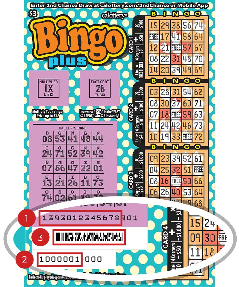 Image of a Scratched $3 BINGO PLUS Scratcher showing a circle in the lower part of the ticket which highlights the placement of the three items listed in the legend below. #1 is the Entry Code (use the first 13 digits only). #2 is the Ticket ID (use the first 7 digits only). #3 is the barcode which can be scanned to use Check-a-Ticket or enter 2nd Chance.