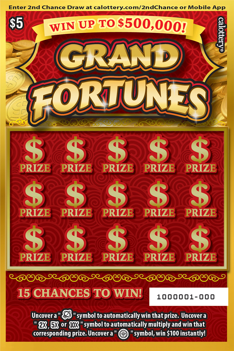 $5 Grand Fortunes unscratched ticket