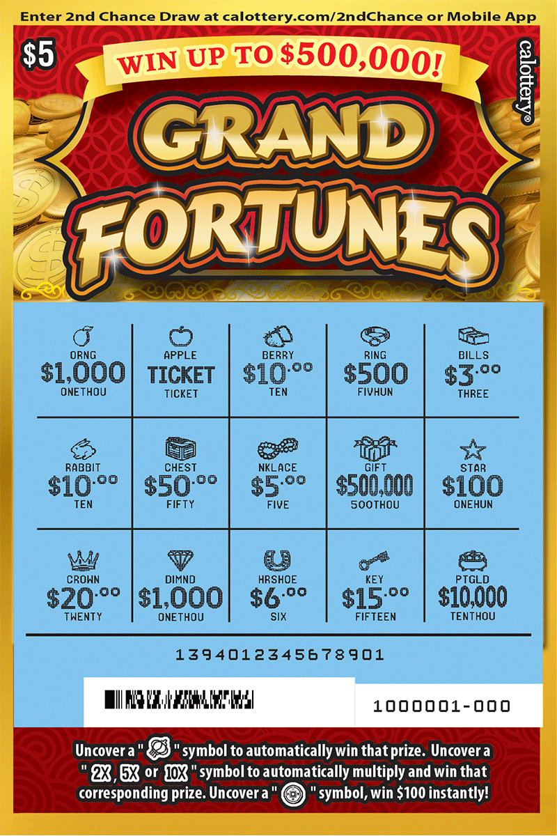 $5 Grand Fortunes scratched ticket