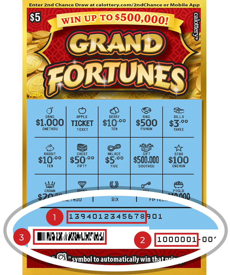 Image of a Scratched $5 GRAND FORTUNES Scratcher showing a circle in the lower part of the ticket which highlights the placement of the three items listed in the legend above. #1 is the Entry Code (use the first 13 digits only). #2 is the Ticket ID (use the first 7 digits only). #3 is the barcode which can be scanned to use Check-a-Ticket or enter 2nd Chance.