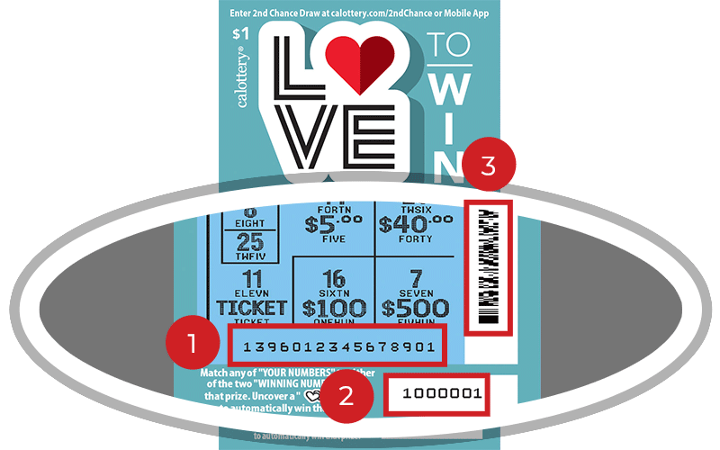 Image of a Scratched $1 LOVE TO WIN Scratcher showing a circle in the lower part of the ticket which highlights the placement of the three items listed in the legend below. #1 is the Entry Code (use the first 13 digits only). #2 is the Ticket ID (use the first 7 digits only). #3 is the barcode which can be scanned to use Check-a-Ticket or enter 2nd Chance.