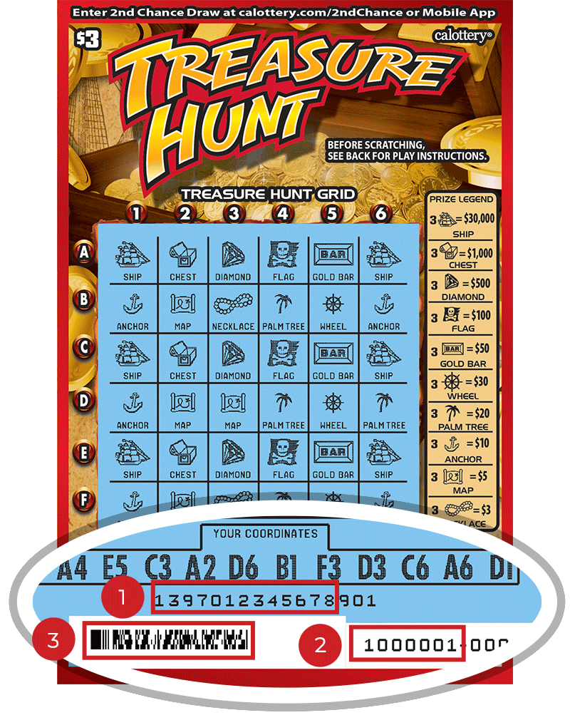 Image of a Scratched $3 TREASURE HUNT Scratcher showing a circle in the lower part of the ticket which highlights the placement of the three items listed in the legend below. #1 is the Entry Code (use the first 13 digits only). #2 is the Ticket ID (use the first 7 digits only). #3 is the barcode which can be scanned to use Check-a-Ticket or enter 2nd Chance.