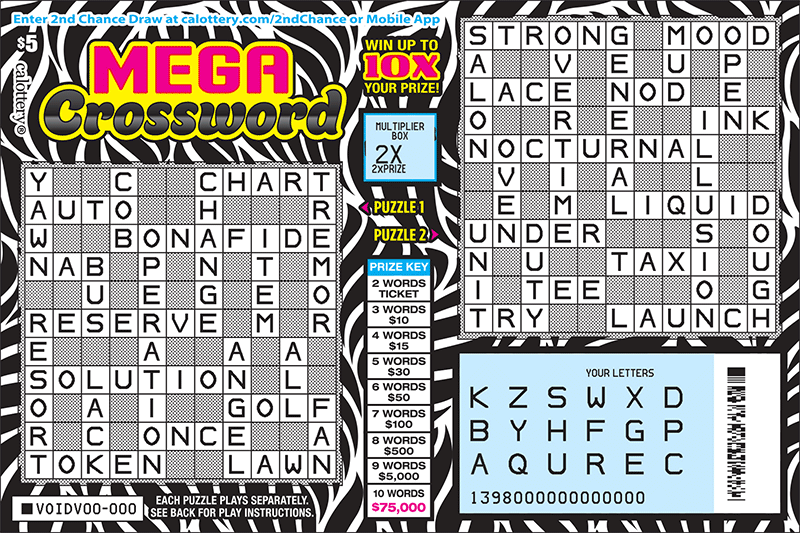 $5 Mega Crossword scratched ticket