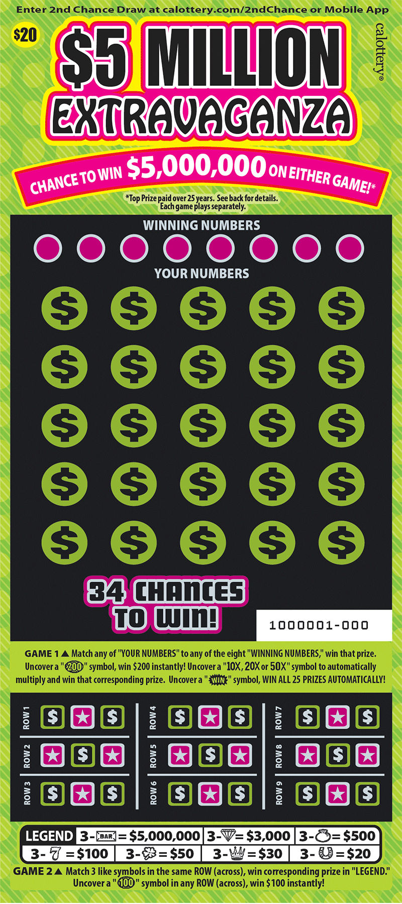 $20 $5 Million Extravaganza unscratched ticket