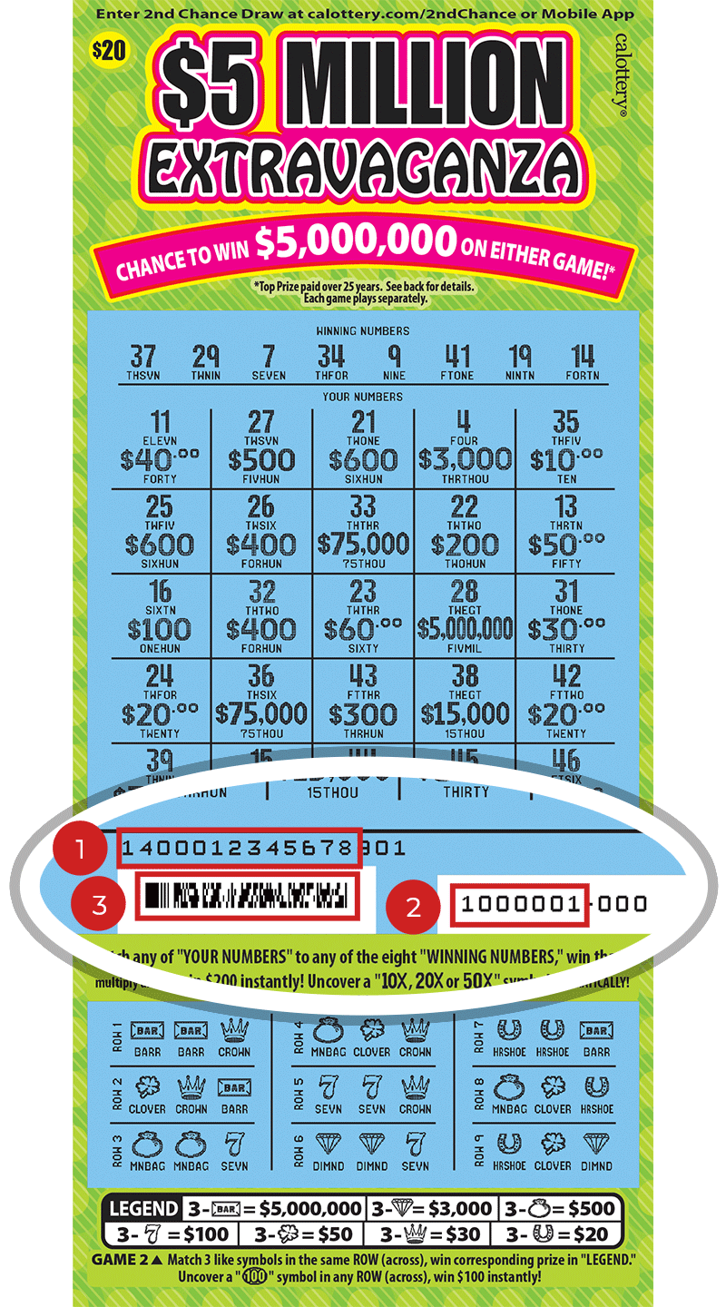 Image of a Scratched $20 $5 MILLION EXTRAVAGANZA Scratcher showing a circle in the lower part of the ticket which highlights the placement of the three items listed in the legend below. #1 is the Entry Code (use the first 13 digits only). #2 is the Ticket ID (use the first 7 digits only). #3 is the barcode which can be scanned to use Check-a-Ticket or enter 2nd Chance.