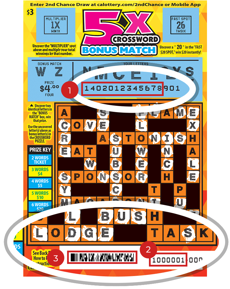Image of a Scratched $3 5X CROSSWORD BONUS MATCH Scratcher showing a circle in the upper & lower part of the ticket which highlights the placement of the three items listed in the legend below. #1 is the Entry Code (use the first 13 digits only). #2 is the Ticket ID (use the first 7 digits only). #3 is the barcode which can be scanned to use Check-a-Ticket or enter 2nd Chance.