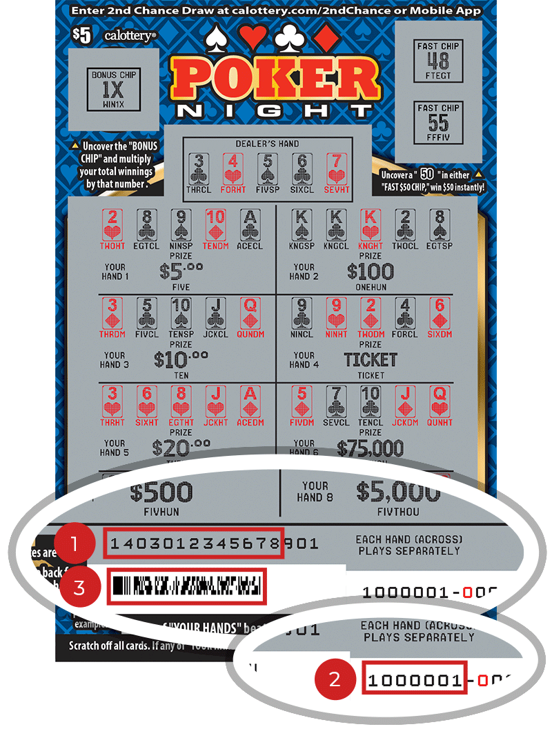 Image of a Scratched $5 POKER NIGHT Scratcher showing a circle in the lower part of the ticket which highlights the placement of the three items listed in the legend above. #1 is the Entry Code (use the first 13 digits only). #2 is the Ticket ID (use the first 7 digits only). #3 is the barcode which can be scanned to use Check-a-Ticket or enter 2nd Chance.
