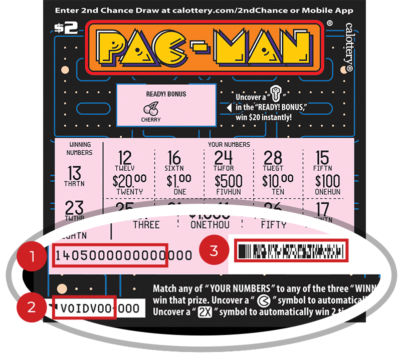 Image of a Scratched $2 Pac-Man Scratcher showing a circle in the lower part of the ticket which highlights the placement of the three items listed in the legend below. #1 is the Entry Code (use the first 13 digits only). #2 is the Ticket ID (use the first 7 digits only). #3 is the barcode which can be scanned to use Check-a-Ticket or enter 2nd Chance.