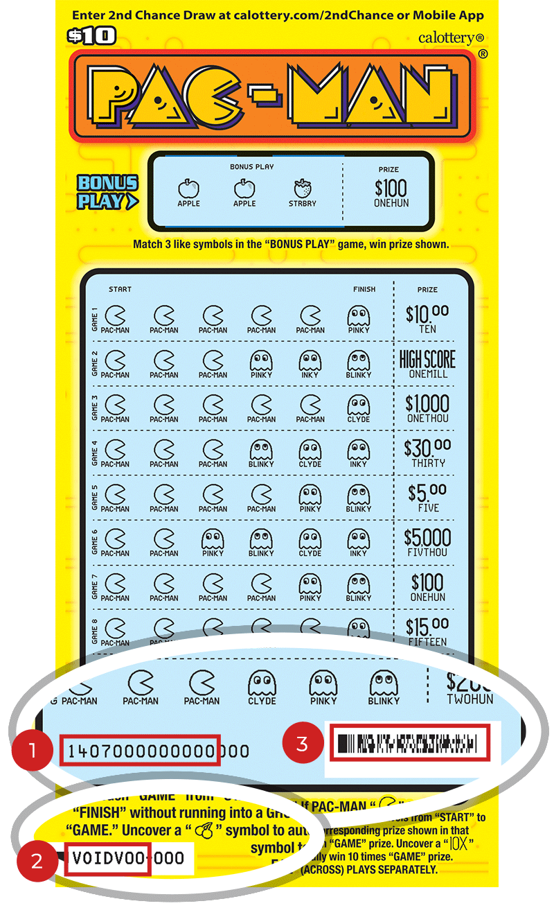 Image of a Scratched $10 PAC-MAN Scratcher showing a circle in the lower part of the ticket which highlights the placement of the three items listed in the legend below. #1 is the Entry Code (use the first 13 digits only). #2 is the Ticket ID (use the first 7 digits only). #3 is the barcode which can be scanned to use Check-a-Ticket or enter 2nd Chance.