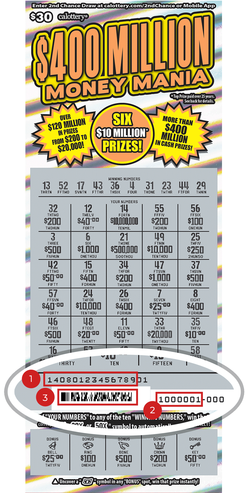 Image of a Scratched $30 $400 Million Money Mania Scratcher showing a circle in the lower part of the ticket which highlights the placement of the three items listed in the legend below. #1 is the Entry Code (use the first 13 digits only). #2 is the Ticket ID (use the first 7 digits only). #3 is the barcode which can be scanned to use Check-a-Ticket or enter 2nd Chance.