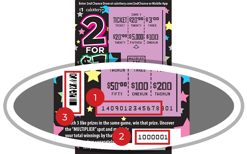 Image of a Scratched $1 2 FOR $1 Scratcher showing a circle in the lower part of the ticket which highlights the placement of the three items listed in the legend below. #1 is the Entry Code (use the first 13 digits only). #2 is the Ticket ID (use the first 7 digits only). #3 is the barcode which can be scanned to use Check-a-Ticket or enter 2nd Chance.