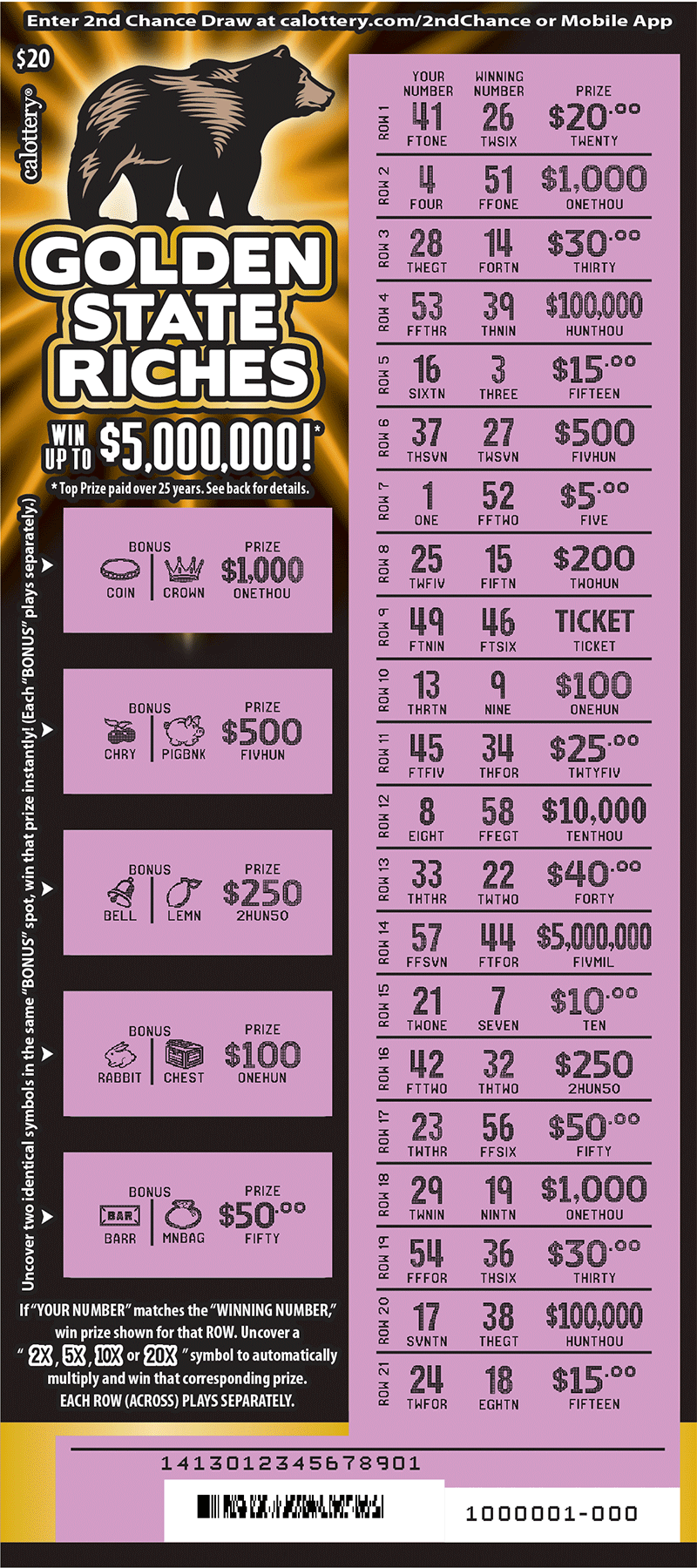 $20 Golden State Riches scratched ticket