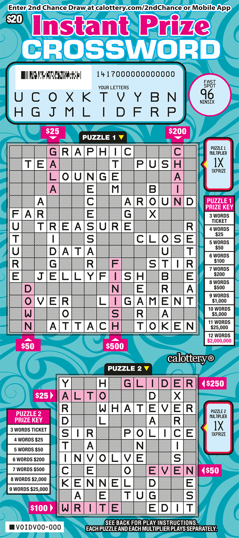 $20 Instant Prize Crossword scratched ticket