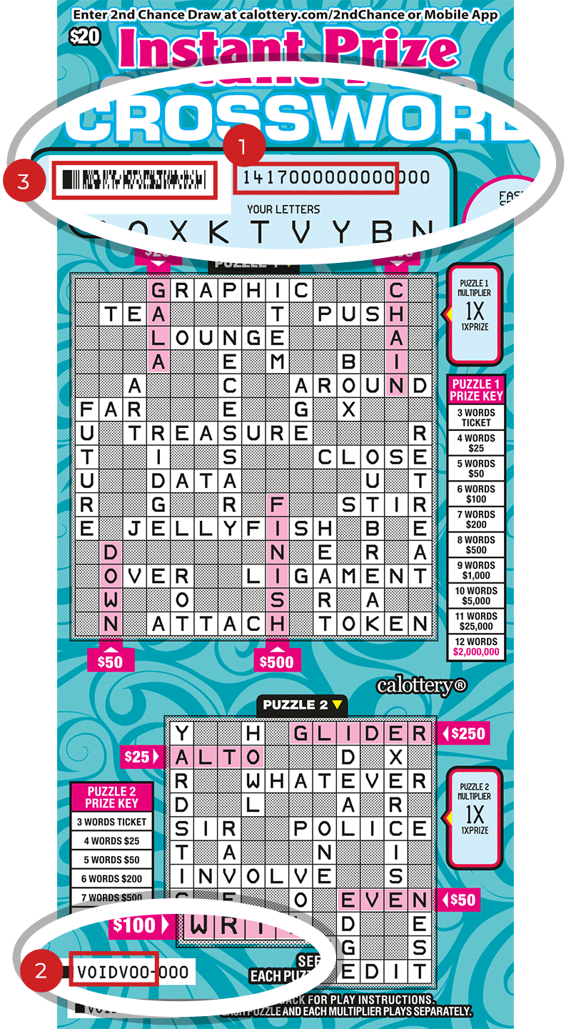 Image of a Scratched $20 INSTANT PRIZE CROSSWORD Scratcher showing a circle in the upper & lower part of the ticket which highlights the placement of the three items listed in the legend below. #1 is the Entry Code (use the first 13 digits only). #2 is the Ticket ID (use the first 7 digits only). #3 is the barcode which can be scanned to use Check-a-Ticket or enter 2nd Chance.