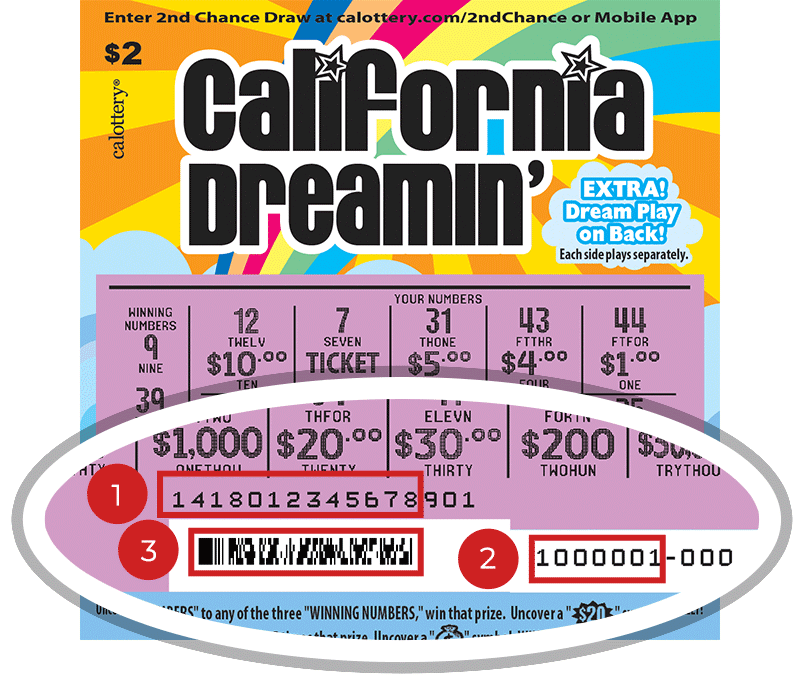 Image of a Scratched $2 CALIFORNIA DREAMIN' Scratcher showing a circle in the lower part of the ticket which highlights the placement of the three items listed in the legend below. #1 is the Entry Code (use the first 13 digits only). #2 is the Ticket ID (use the first 7 digits only). #3 is the barcode which can be scanned to use Check-a-Ticket or enter 2nd Chance.
