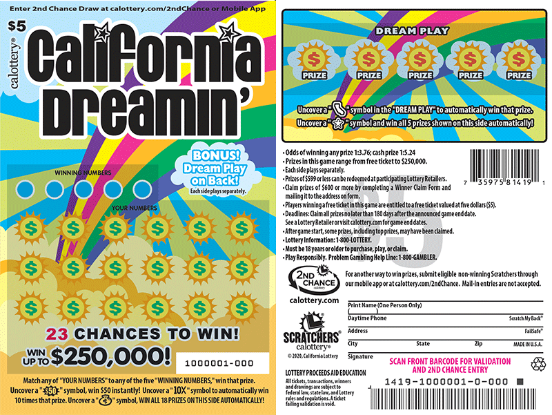 $5 California Dreamin' unscratched ticket