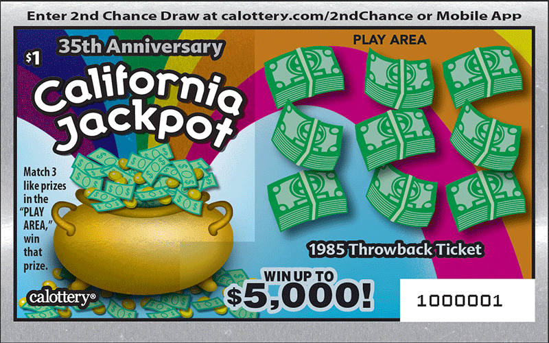 Unscratched $1 California Jackpot game #1422