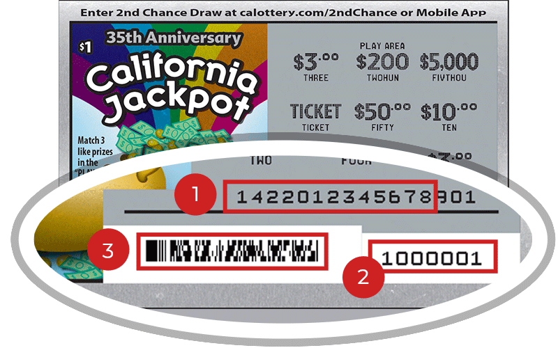 Image of a Scratched $1 California Jackpot Scratcher showing a circle in the lower right corner which highlights the placement of the three items listed in the legend below. #1 is the Entry Code (use the first 13 digits only). #2 is the Ticket ID (use the first 7 digits only). #3 is the barcode which can be scanned to use Check-a-Ticket or enter 2nd Chance.