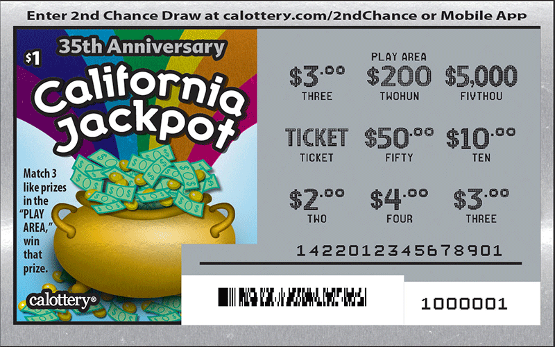 Scratched $1 California Jackpot game #1422
