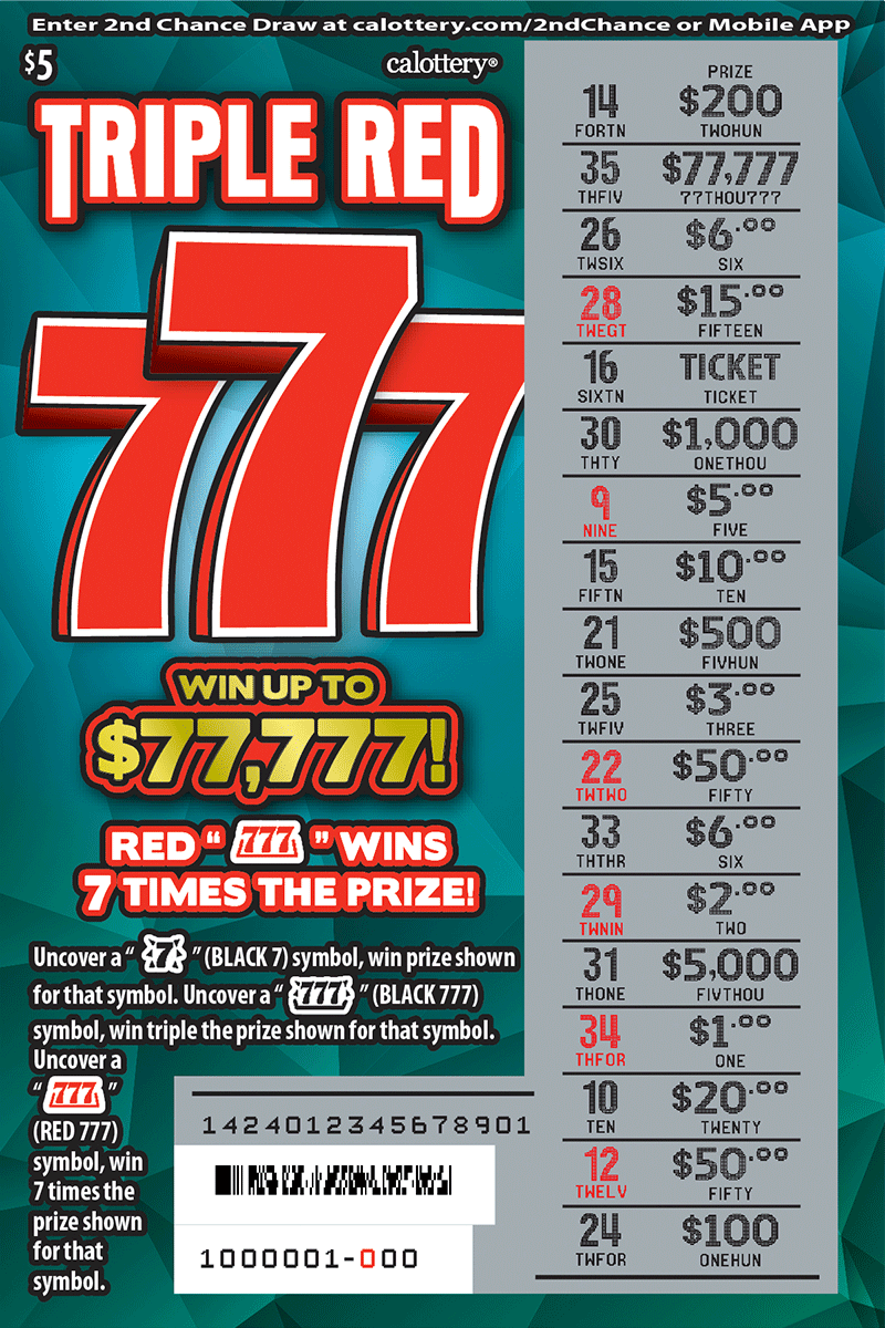 $5 Triple 777 scratched ticket