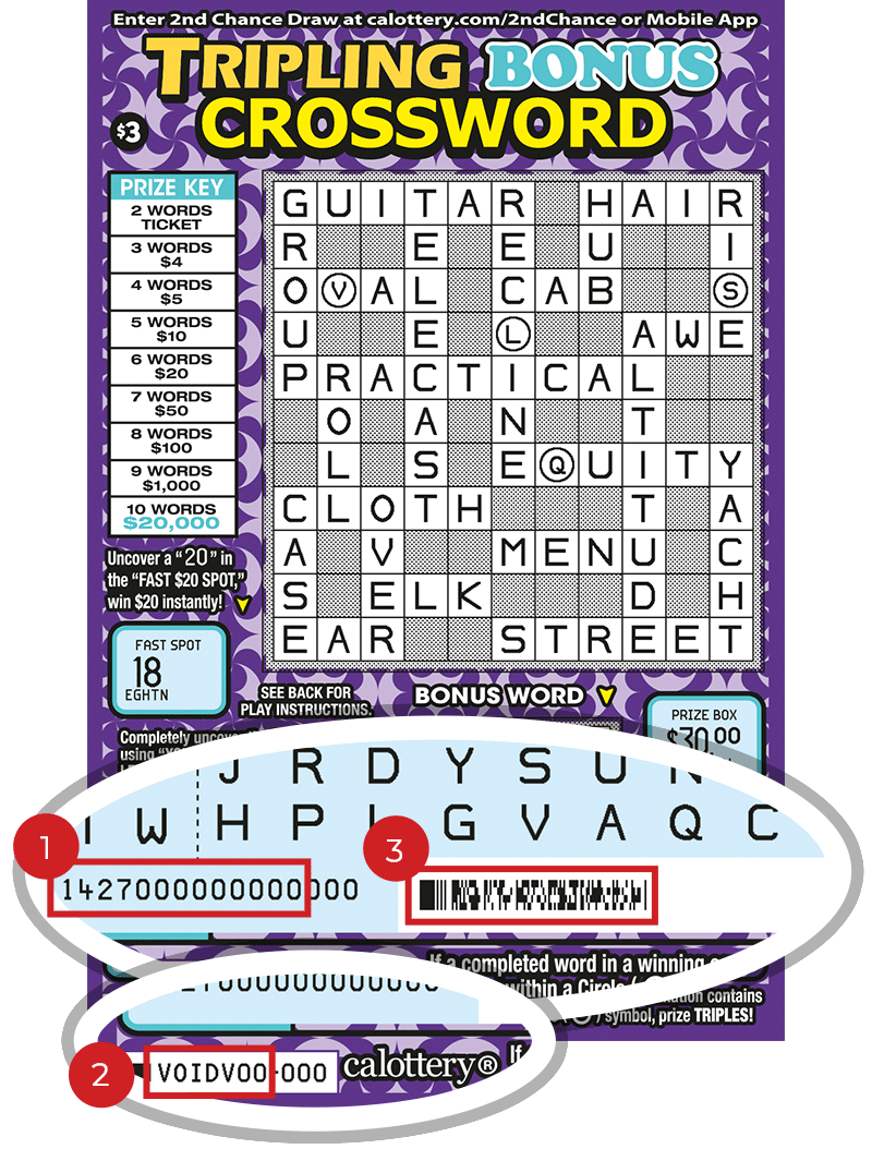 Image of a Scratched $3 TRIPLING BONUS CROSSWORD Scratcher showing a circle in the lower part of the ticket which highlights the placement of the three items listed in the legend below. #1 is the Entry Code (use the first 13 digits only). #2 is the Ticket ID (use the first 7 digits only). #3 is the barcode which can be scanned to use Check-a-Ticket or enter 2nd Chance.