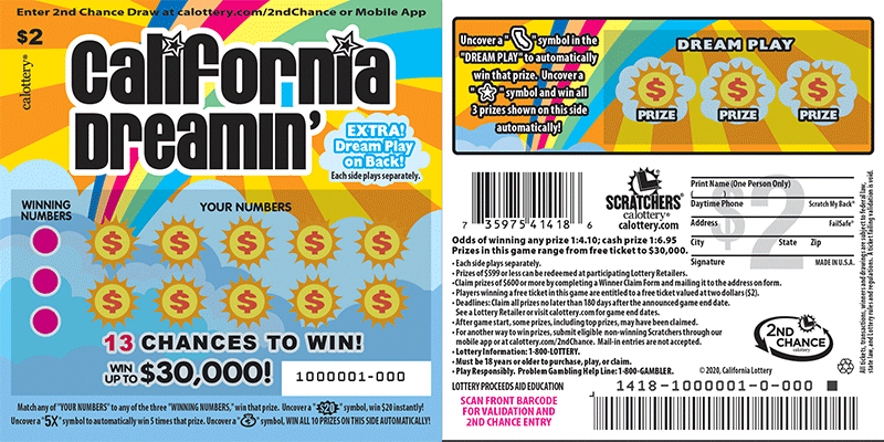 $2 California Dreamin' unscratched ticket