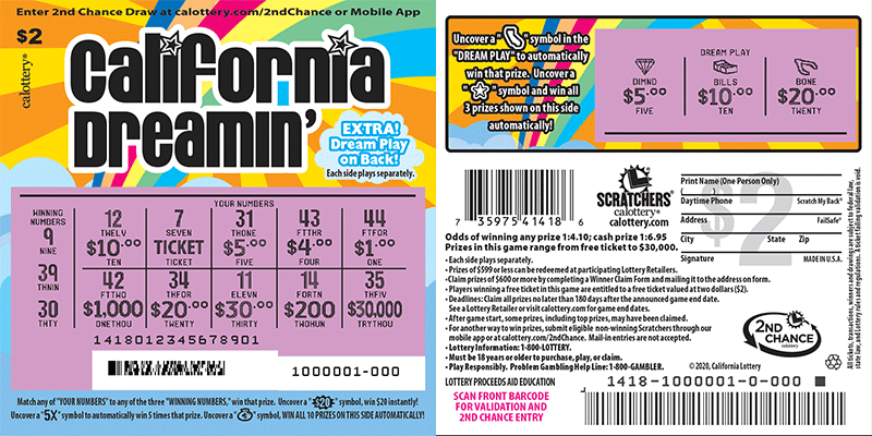$2 California Dreamin' scratched ticket