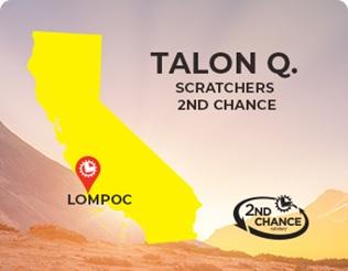 Scratchers 2nd chance winner Talon Q of Lompoc